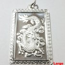 Chinese Zodiac Horoscope 999 fine Silver Large Rectangle Year of Dragon Pendant