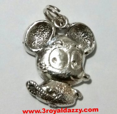 Cute Eye Catching Little Mouse Fashionable .925 Sterling Silver Pendant