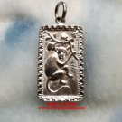 Chinese Horoscope 925 Sterling Silver Rectangle Year of Monkey Pendant Small