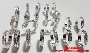 Royal Dazzy Exclusive Handmade diamond cut solid 925 Silver Ring Band 4mm Size 9