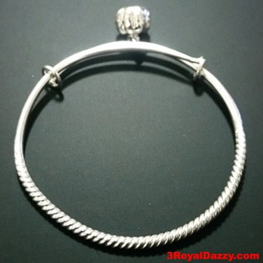 New Handmade Solid 925 Silver Round Spiral & Bell Newborn Baby Adjustable Bangle