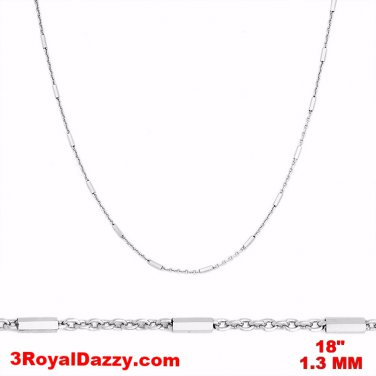 """14k White Gold / 925 Sterling Silver Bar & Cable Italy Necklace Chain -1.3mm 18"""""""