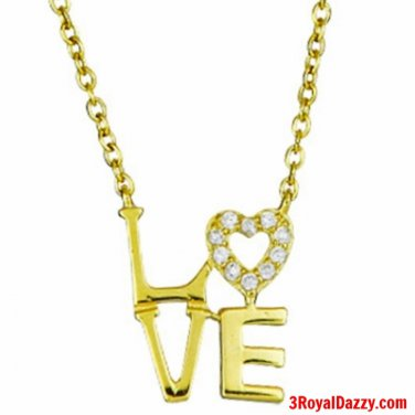 """14k Yellow Gold on 925 Sterling Silver Women Girls """"Love"""" Heart Letters Necklace"""