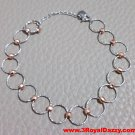 14k White and Rose Gold Layer on 925 Sterling Silver Hoop Bracelet