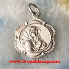 Religious Catholic Vintage Virgin Mary 925 Sterling Silver Flowery Shape Pendant