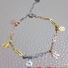 14k Tri-Color Gold Layer on 925 Silver Dangling Boy And Girl Kiss Charm Bracelet