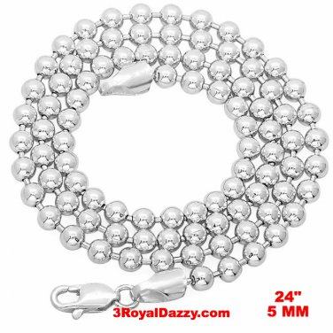 New Italian White gold over 925 silver ball bead Military Dog Tag chain 5 mm 24""