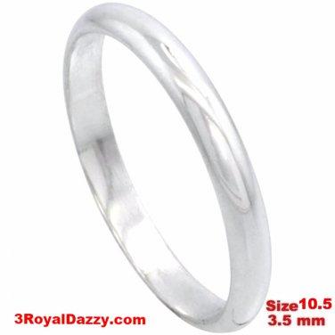 Italy Anti tarnish 925 silver high polish plain wedding band ring 3.5mm Size10.5