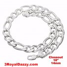 Closeout Italy Solid Thick Choker Figaro 925 Anti-Tarnish Silver Chain- 14mm 18""