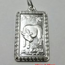 Chinese Zodiac Horoscope 999 fine Silver Rectangle Year of Ox Pendant charm