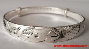 Handmade Dragon and Phoenix Blessed 999 Solid Fine Silver Adjustable Bangle