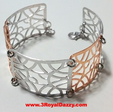 14k Rose & White Gold Layer on 925 Silver Bracelet (3RoyalDazzy.com's Handmade)