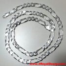 Men Women Children Solid Silver Italian Figaro Extra Thick Necklace 6.5 mm 24 ""