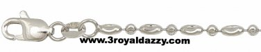 Italy 18k white gold layered over .925 sterling silver -2 mm moon cut chain-18""