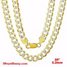 Italy diamond cut 14k white & yellow gold layered over 925 silver 5.0mm Curb 30""