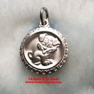 Chinese Lunar Zodiac Horoscope 925 fine Silver Round Year of Dog Pendant charm