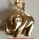 14k Yellow gold Layer on Sterling Silver Highly Polish Elephant Pendant Charm