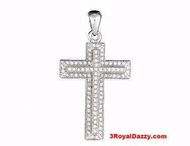 Causal Comfy Fashion Cross Pendant Micro Pave CZ .925 Sterling Silver Unisex