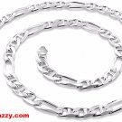 New Italy Solid Heavy Figaro Marina Anti-Tarnish Silver Chain Necklace-6.5mm 20""