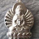 Beautiful Everyday Asian GuanYin Goddess Buddha .999 Fine Silver Hollow Pendant