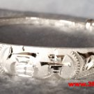 Handmade Chinese Longevity and Happiness 999 Solid Fine Silver Adjustable Bangle