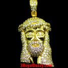 Mens Hip Hop Iced Out 3D Jesus Face Yellow gold on 925 Sterling Silver Charm - M