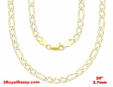 "Italian diamond cut 14k white & yellow gold layer over Silver Figaro- 3.7mm- 20"""