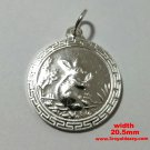 Chinese Zodiac Horoscope 999 fine Silver Round Year of Rabbit Pendant charm