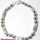 "New Handmade Men solid 990 Fine Silver Round Hollow Ball & Bar Bracelet 6 mm 9"""