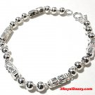"New Handmade Men solid .990 Fine Silver Round Hollow Ball & Bar Bracelet 6 mm 9"""
