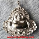 Classy Peaceful Handcraft 3D Smiling Buddha .999 Solid Silver Large Size Pendant