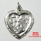 Chinese Zodiac Horoscope 999 fine Silver Heart Year of Rabbit Pendant charm