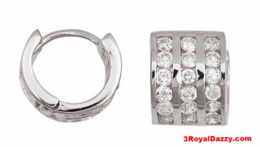 18k w. gold layer Brilliance three row Channel set CZ Hoop Huggie Earring Silver