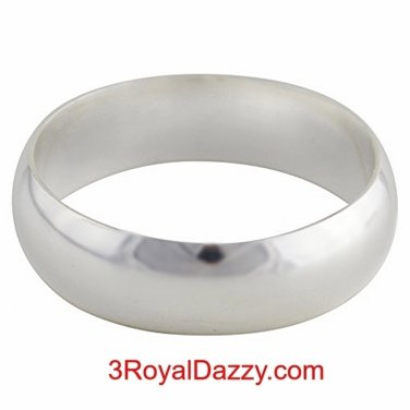 Solid 999 Fine Silver high polished glossy plain wedding Ring Band 6.0mm S- 5