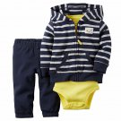 NEW Carter's Baby Boy 3 Piece Navy Striped Cardigan Pants Set Outfit - 18 Months