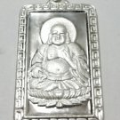 Happy Laughing Fat Male Buddha Solid 999 Silver Rectangle Meditation Pendant
