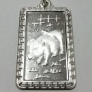 Chinese Zodiac Horoscope 999 fine Silver Rectangle Year of Boar / Pig Pendant