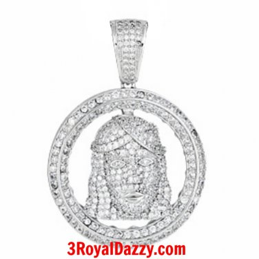 M Size- Hip Hop Iced Out Bling Jesus Face white gold on Silver Pendant Medallion