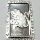 Chinese Zodiac Horoscope 999 fine Silver Rectangle Year of Mouse / Rat Pendant