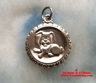 Chinese Zodiac Horoscope 999 fine Silver Round Year of Dog Pendant charm- Small