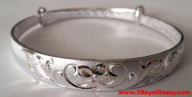 Handmade Sweet and Elegant Flower Design 999 Solid Fine Silver Adjustable Bangle