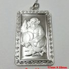 Chinese Zodiac Horoscope 999 fine Silver Rectangle Year of Monkey Pendant charm
