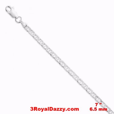 "Eye Catching Flat Marina Anti Tarnish .925 Sterling Silver Bracelet 7"" Unisex"