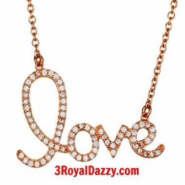 New 14k Pink Rose gold on 925 silver CZ Love word script Necklace Pendant 16-18""