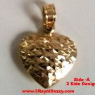 14k gold Layer on Sterling Silver Reversible Diamond cut & Polish Heart Pendant