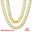 Italy diamond cut 14k white & yellow gold layered over 925 silver 5.2mm Curb 26""