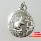 Chinese Zodiac Horoscope 999 fine Silver Round Year of Rat Pendant charm