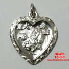 Chinese Zodiac Horoscope 999 fine Silver Year of Dog Heart Pendant charm