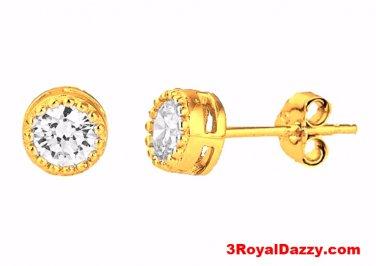 14k Yellow gold layer Round Bezel Prongs CZ .925 Sterling Silver Unisex Earrings