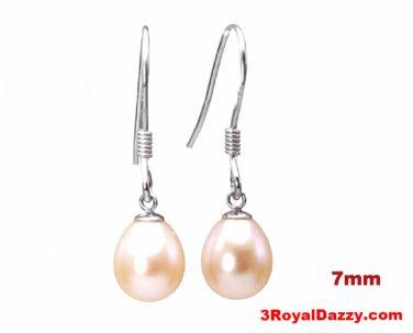 7mm Sterling Silver AAA Hanging Freshwater Peach Cream Pearl  Fishhook Earrings